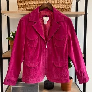 Live a Little 100% Suede Pink Leather Zip Jacket,L